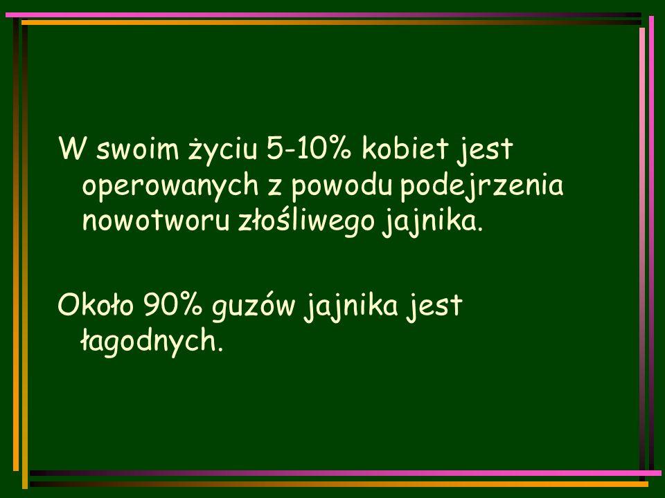 Klasyfikacja wg FIGO  Stopień I – guz ograniczony do jajników  Ia - guz ograniczony do jednego jajnika, bez wysięku otrzewnowego, bez nacieku na torebce guza, torebka gładka, nieprzerwana  Ib - guz ograniczony do obu jajników, bez wysięku otrzewnowego, bez nacieku na torebce guza, torebka gładka, nieprzerwana  Ic - guzy jak w stopniu Ia lub Ib ale z przejściem nacieku przez torebkę na powierzchnię jednego lub obu jajników lub pęknięta torebka lub wodobrzusze