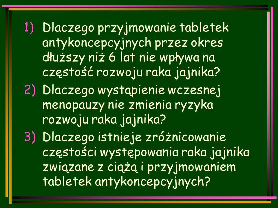 1)Dlaczego przyjmowanie tabletek antykoncepcyjnych przez okres dłuższy niż 6 lat nie wpływa na częstość rozwoju raka jajnika.