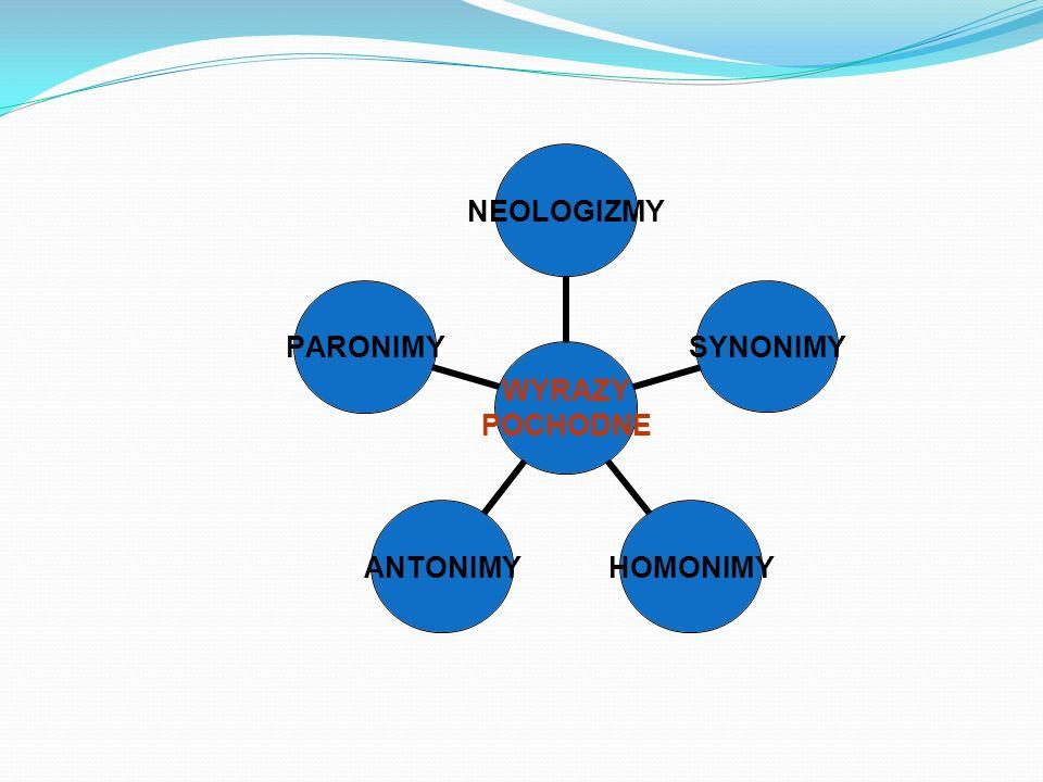 WYRAZY POCHODNE NEOLOGIZMYSYNONIMYHOMONIMYANTONIMYPARONIMY