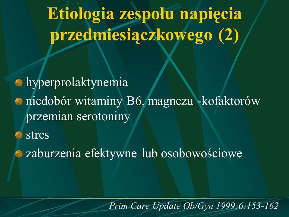 Etiologia zespołu napięcia przedmiesiączkowego (2) hyperprolaktynemia niedobór witaminy B6, magnezu -kofaktorów przemian serotoniny stres zaburzenia e