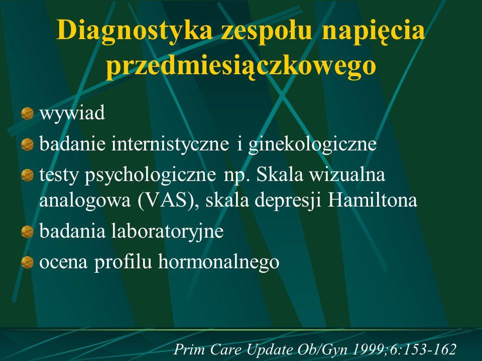 Diagnostyka zespołu napięcia przedmiesiączkowego wywiad badanie internistyczne i ginekologiczne testy psychologiczne np. Skala wizualna analogowa (VAS