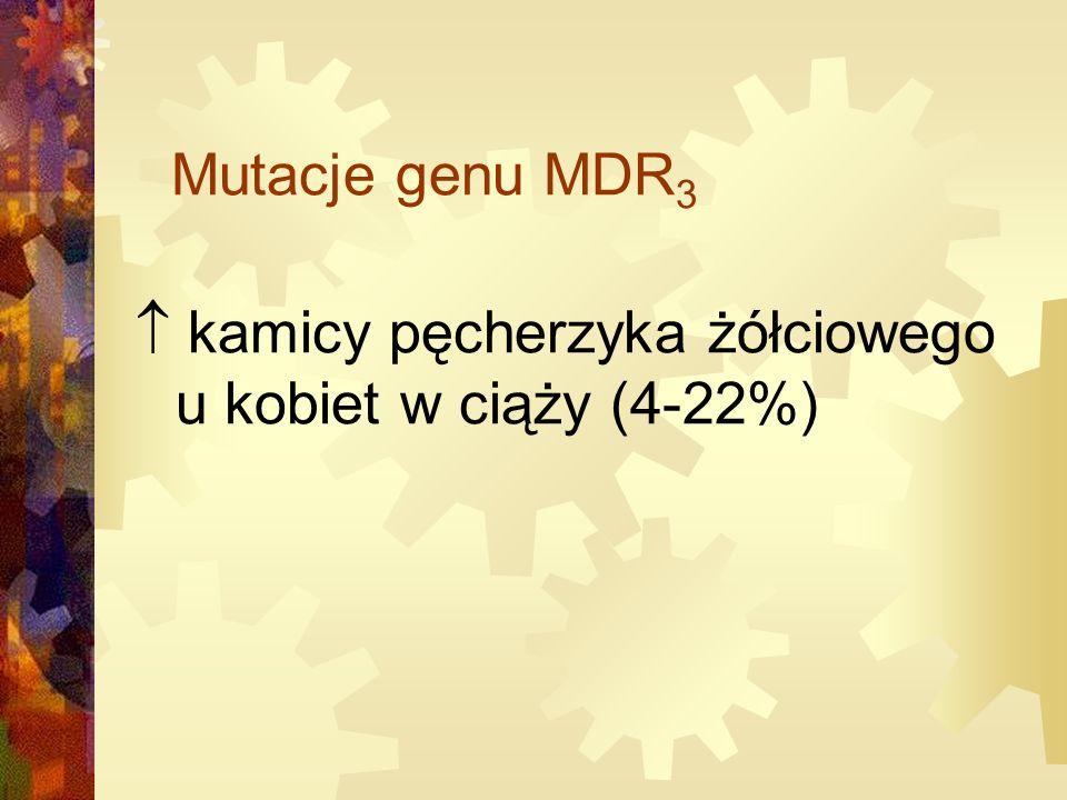 Mutacje genu MDR 3  kamicy pęcherzyka żółciowego u kobiet w ciąży (4-22%)