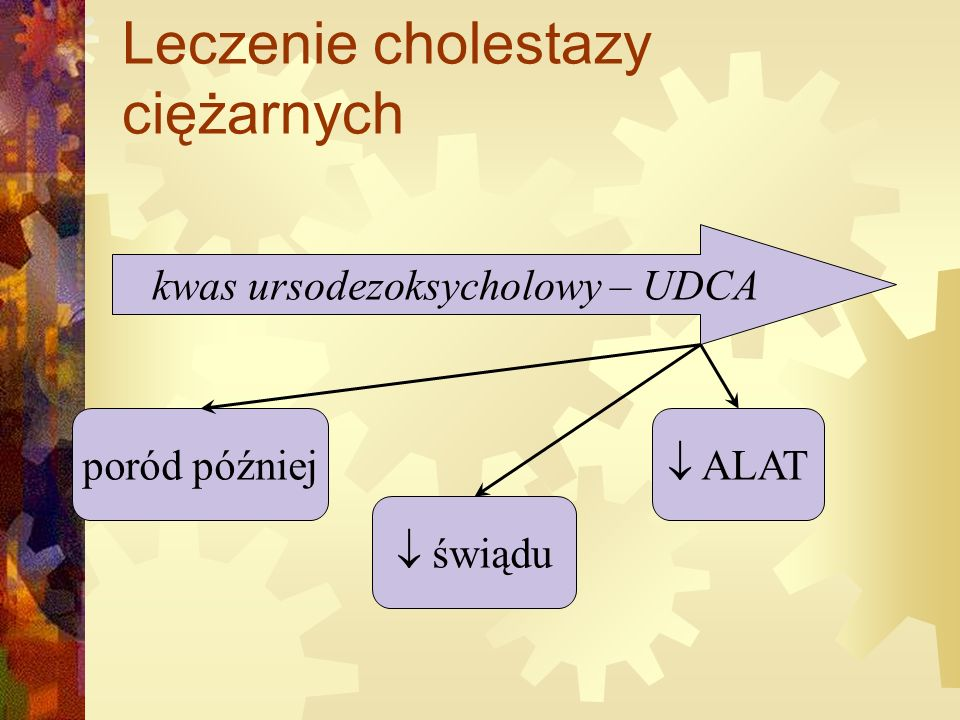 Leczenie cholestazy ciężarnych kwas ursodezoksycholowy – UDCA poród później  świądu  ALAT