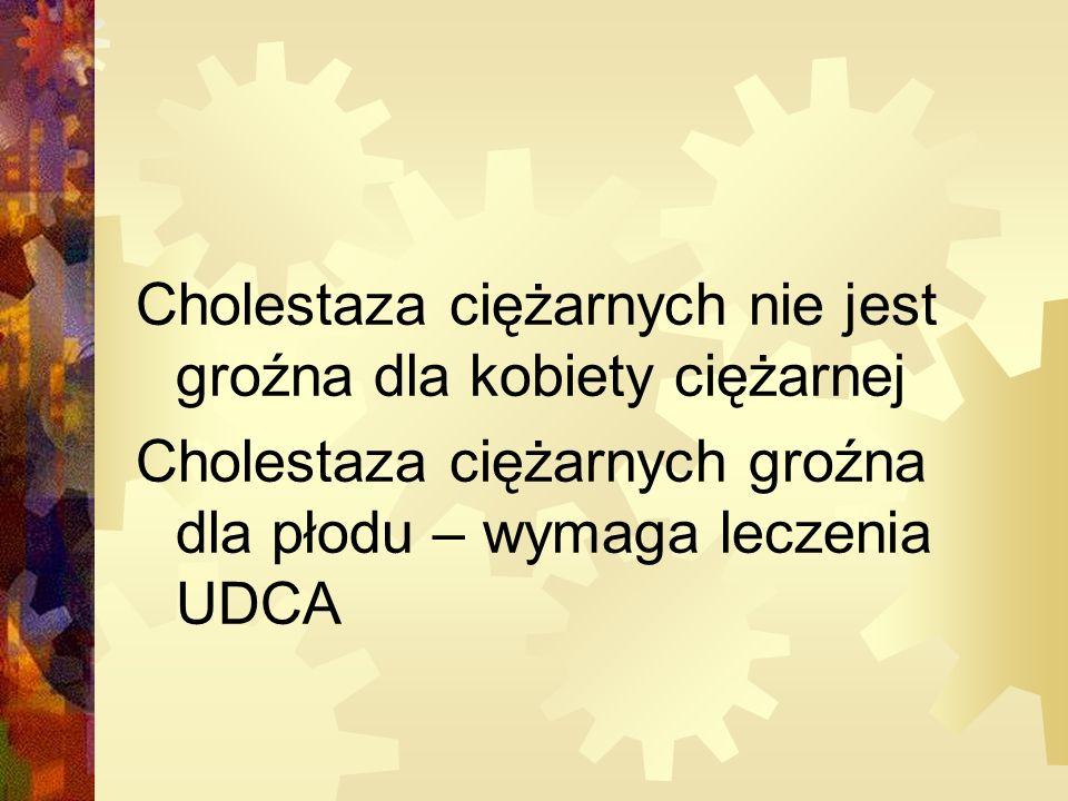 Cholestaza ciężarnych nie jest groźna dla kobiety ciężarnej Cholestaza ciężarnych groźna dla płodu – wymaga leczenia UDCA