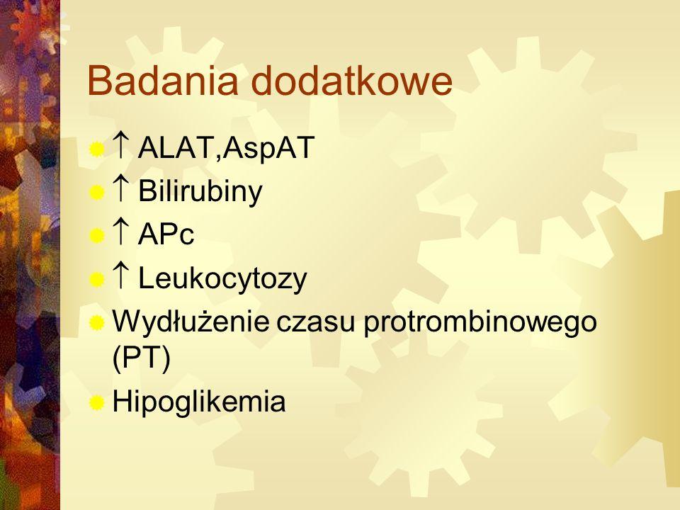 Badania dodatkowe   ALAT,AspAT   Bilirubiny   APc   Leukocytozy  Wydłużenie czasu protrombinowego (PT)  Hipoglikemia