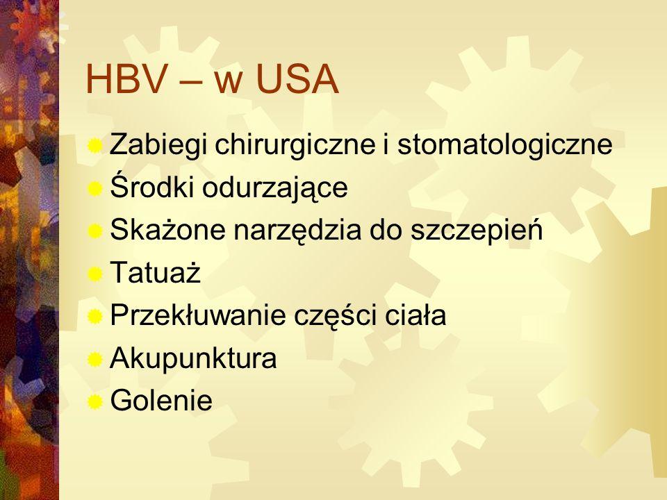 HBV – w USA  Zabiegi chirurgiczne i stomatologiczne  Środki odurzające  Skażone narzędzia do szczepień  Tatuaż  Przekłuwanie części ciała  Akupunktura  Golenie