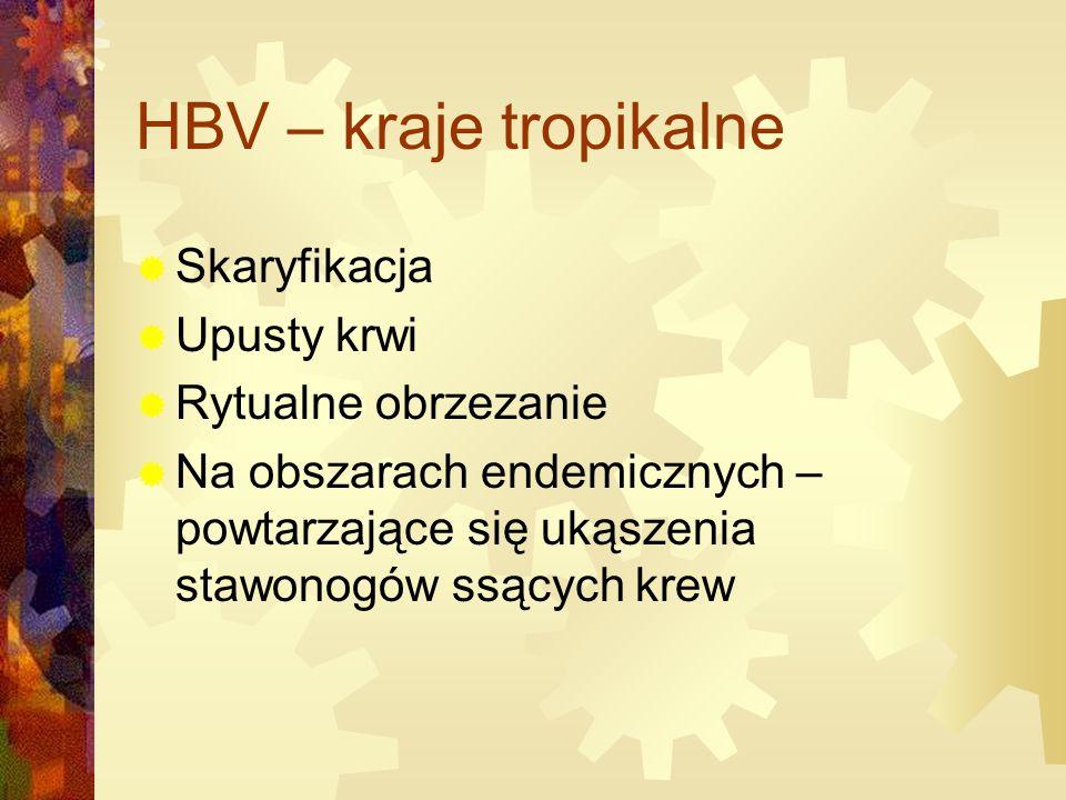HBV – kraje tropikalne  Skaryfikacja  Upusty krwi  Rytualne obrzezanie  Na obszarach endemicznych – powtarzające się ukąszenia stawonogów ssących krew