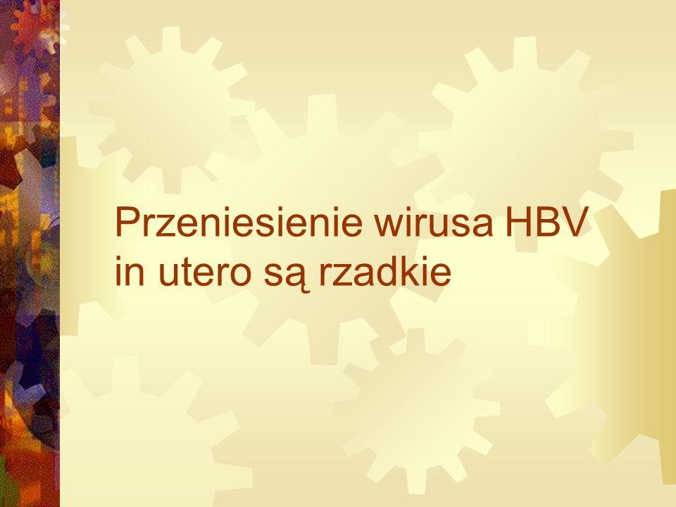 Przeniesienie wirusa HBV in utero są rzadkie