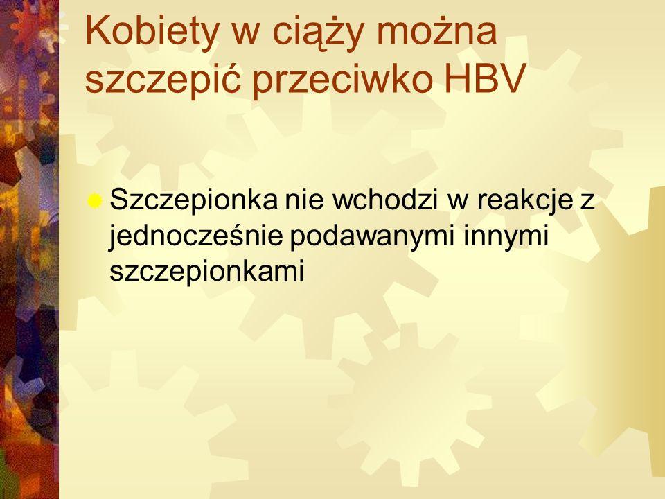Kobiety w ciąży można szczepić przeciwko HBV  Szczepionka nie wchodzi w reakcje z jednocześnie podawanymi innymi szczepionkami