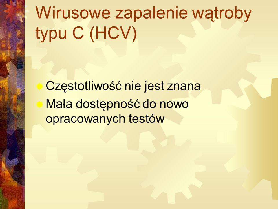 Wirusowe zapalenie wątroby typu C (HCV)  Częstotliwość nie jest znana  Mała dostępność do nowo opracowanych testów