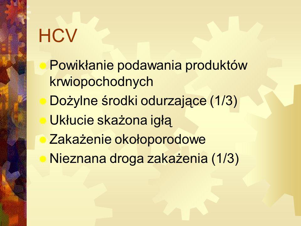 HCV  Powikłanie podawania produktów krwiopochodnych  Dożylne środki odurzające (1/3)  Ukłucie skażona igłą  Zakażenie okołoporodowe  Nieznana droga zakażenia (1/3)