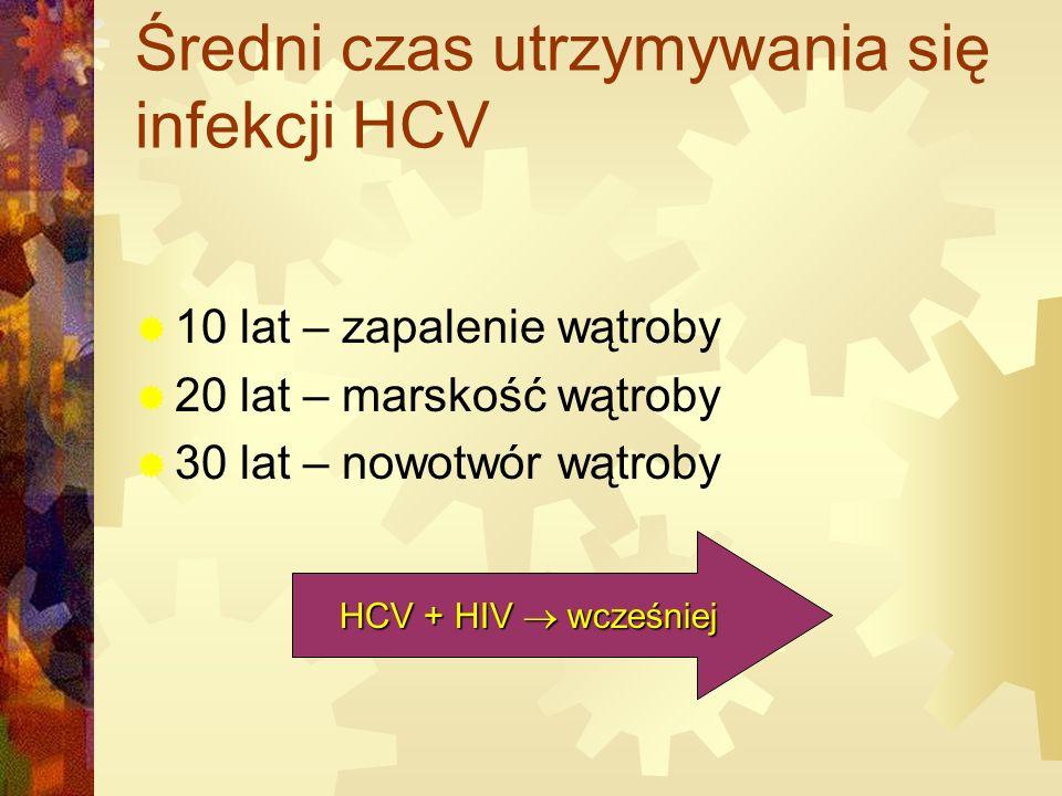 Średni czas utrzymywania się infekcji HCV  10 lat – zapalenie wątroby  20 lat – marskość wątroby  30 lat – nowotwór wątroby HCV + HIV  wcześniej