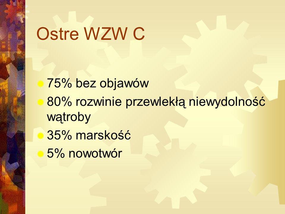 Ostre WZW C  75% bez objawów  80% rozwinie przewlekłą niewydolność wątroby  35% marskość  5% nowotwór