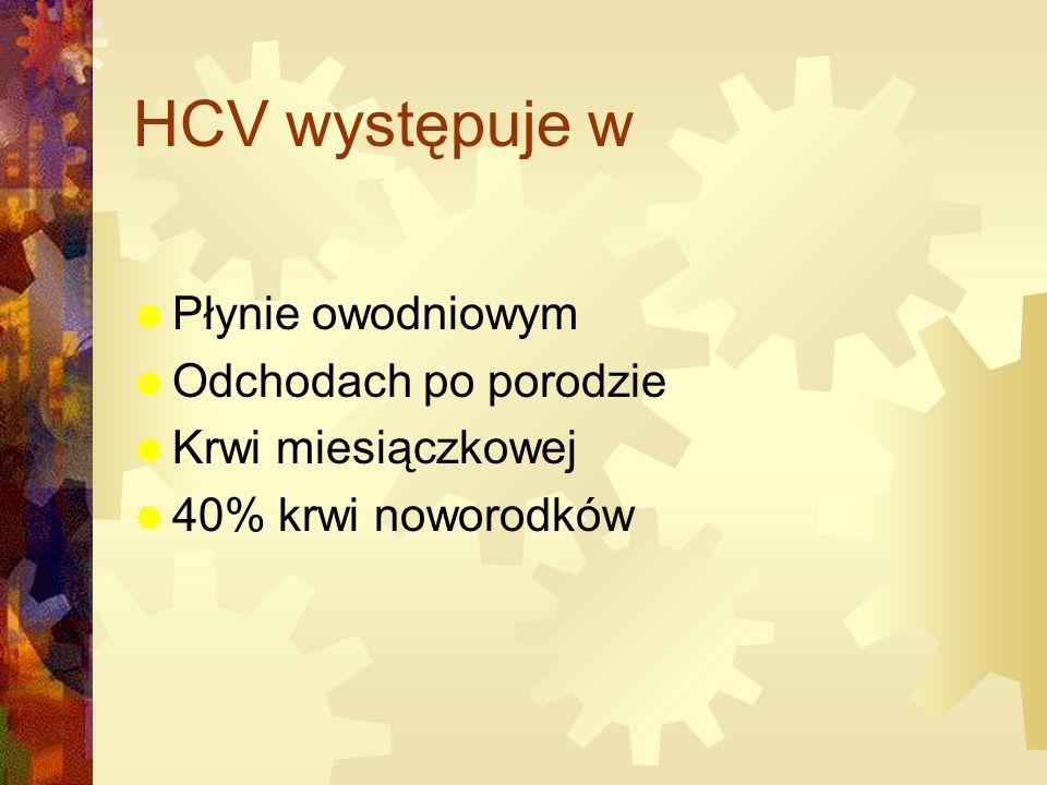 HCV występuje w  Płynie owodniowym  Odchodach po porodzie  Krwi miesiączkowej  40% krwi noworodków