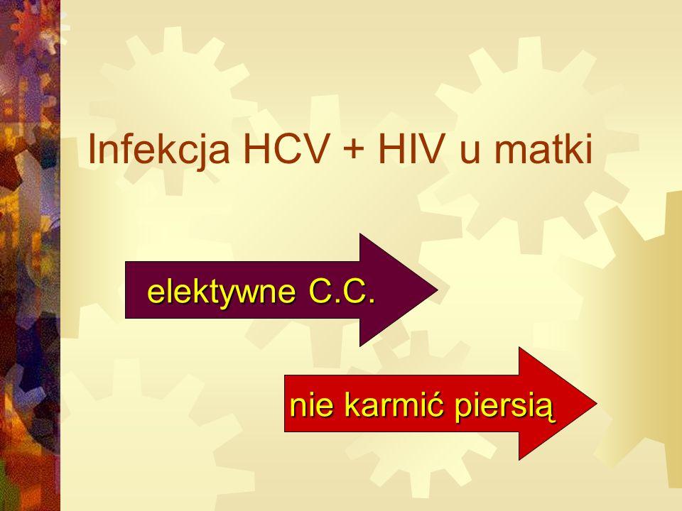 Infekcja HCV + HIV u matki elektywne C.C. nie karmić piersią