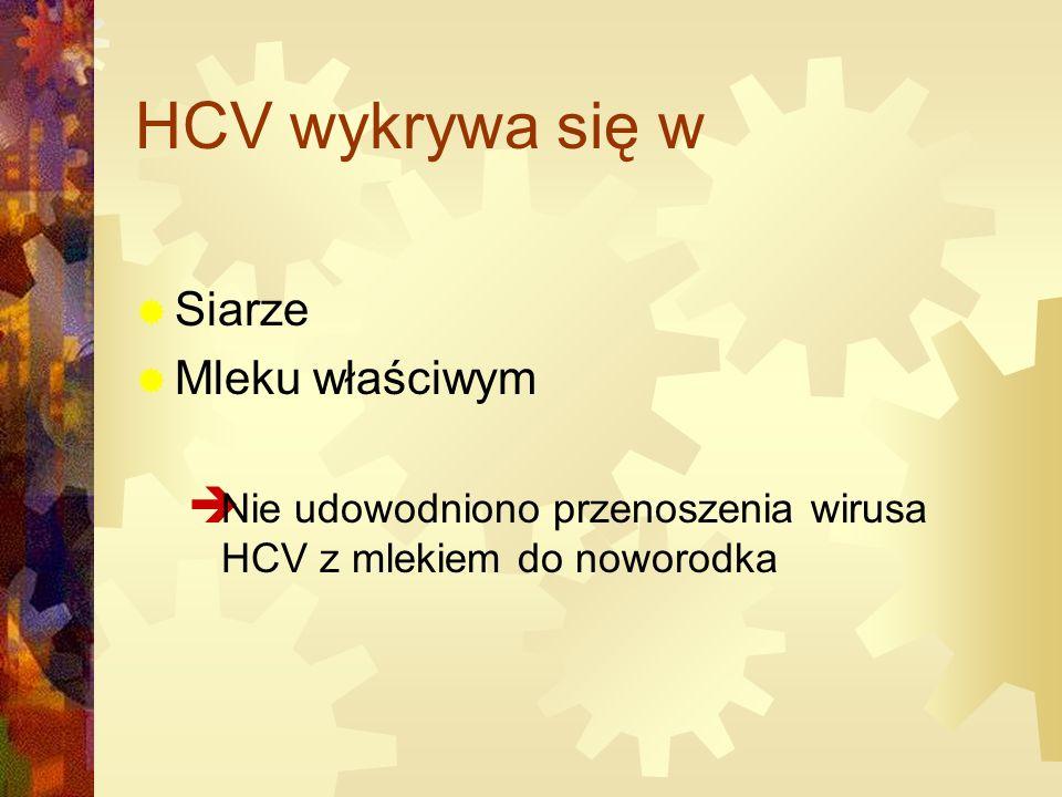 HCV wykrywa się w  Siarze  Mleku właściwym  Nie udowodniono przenoszenia wirusa HCV z mlekiem do noworodka