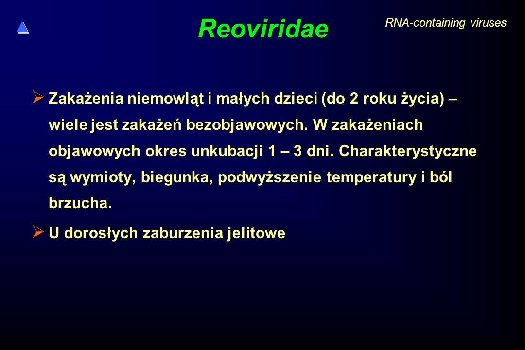 Reoviridae  Zakażenia niemowląt i małych dzieci (do 2 roku życia) – wiele jest zakażeń bezobjawowych. W zakażeniach objawowych okres unkubacji 1 – 3