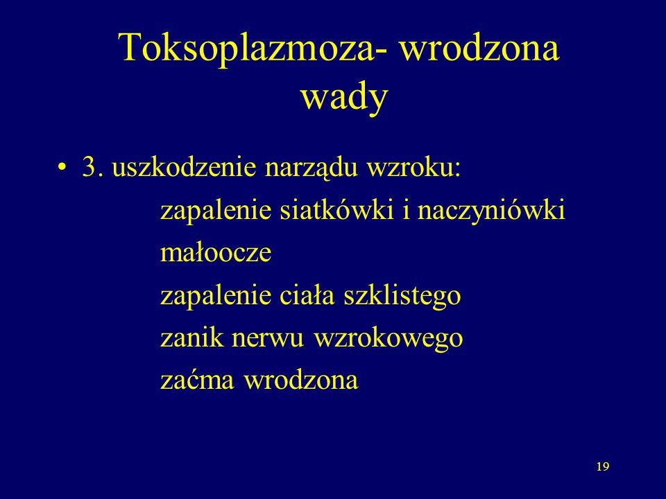 19 Toksoplazmoza- wrodzona wady 3.