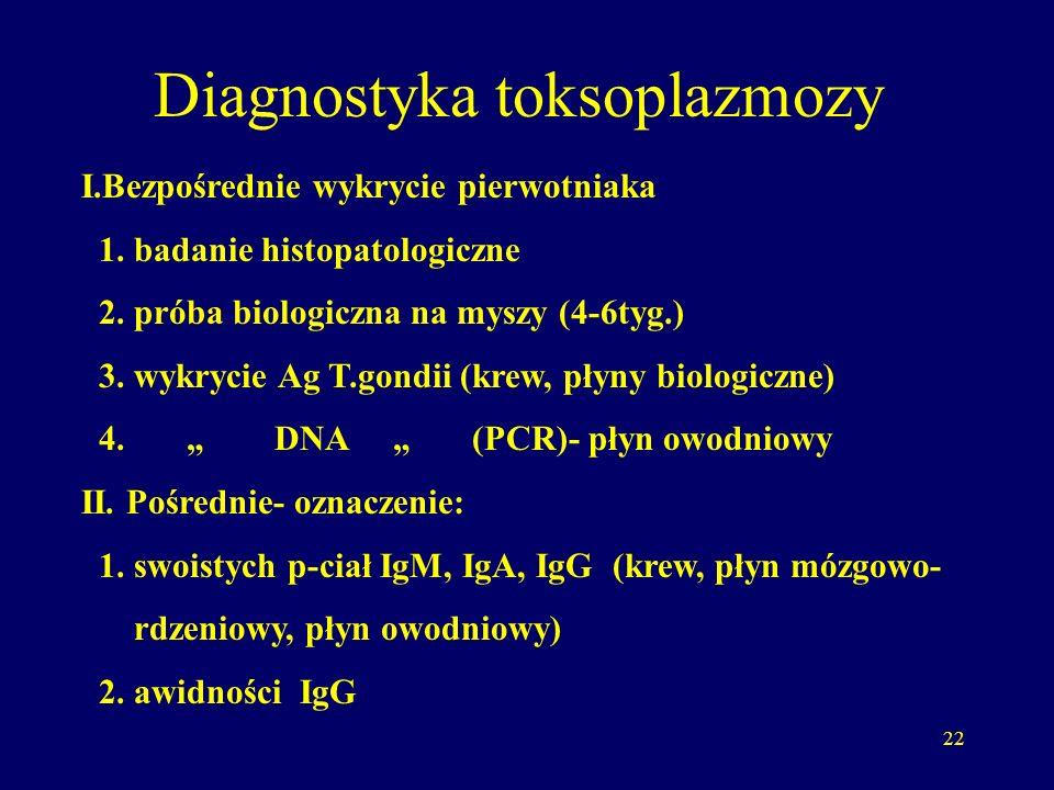 22 Diagnostyka toksoplazmozy I.Bezpośrednie wykrycie pierwotniaka 1.