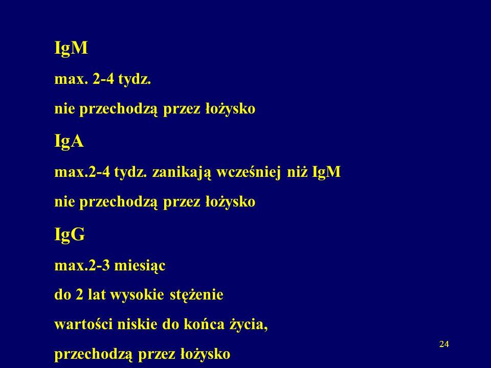 24 IgM max. 2-4 tydz. nie przechodzą przez łożysko IgA max.2-4 tydz.