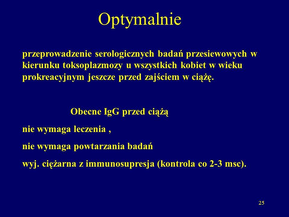 26 Ciężarna seronegatywna IgG (-) IgM (-) nie przebyła zarażenia kontrola serologiczna co 2-3 msc zalecenia dietetyczno-higieniczne zmniejszające ryzyko zarażenia