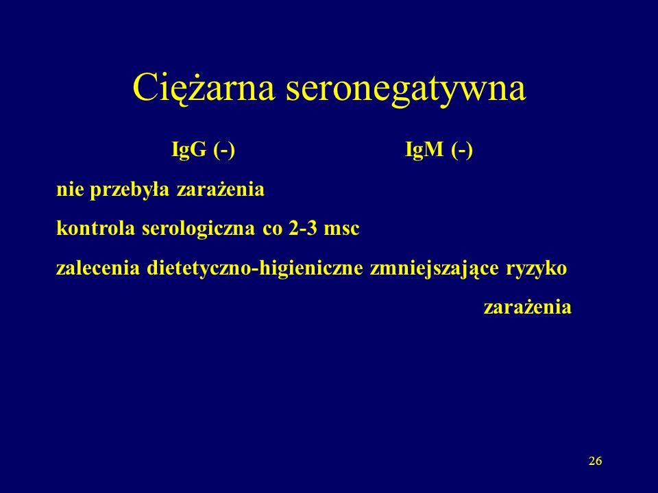 27 Interpretacja badań u ciężarnej IgG (-) IgM (+) odczyn nieswoisty lub początek zarażenia badania kontrolne II, III trymestr i przed planowanym terminem porodu 37-38 Hbd + pobranie próbki krwi dziecka bezpośrednio po porodzie Większość zarażeń płodów ma miejsce w III trymestrze ciąży i jest to na ogół zarażenie bezobjawowe.