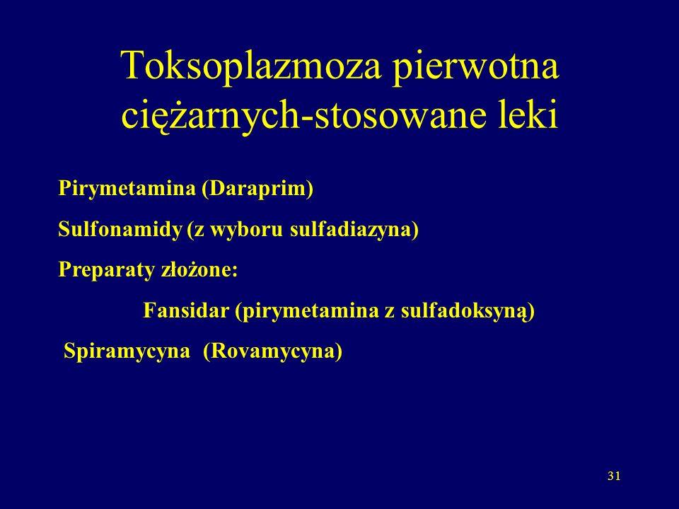 32 Leki Pirymetamina - 25 mg/dobę przenika przez łożysko nie stosować w I trymestrze ciąży można II, III trymestr Sulfadiazyna 2,0/ dobę W czasie leczenia Pirymetaminą koniecznie równocześnie podawać: kwas folinowy (Leukovorine, Lederle) 5mg 2x w tyg.