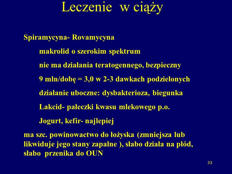 33 Leczenie w ciąży Spiramycyna- Rovamycyna makrolid o szerokim spektrum nie ma działania teratogennego, bezpieczny 9 mln/dobę = 3,0 w 2-3 dawkach podzielonych działanie uboczne: dysbakterioza, biegunka Lakcid- pałeczki kwasu mlekowego p.o.