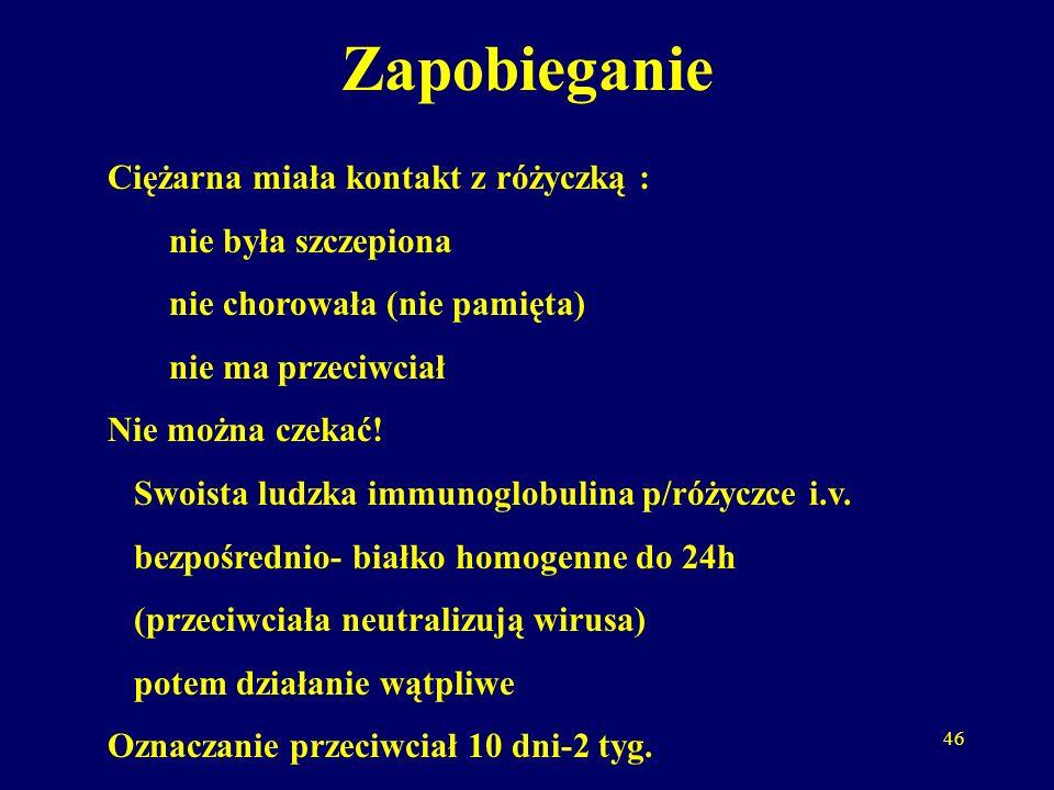 47 Szczepionka p/różyczce wirus atenuowany (żywy, osłabiony) Nie szczepimy w ciąży.
