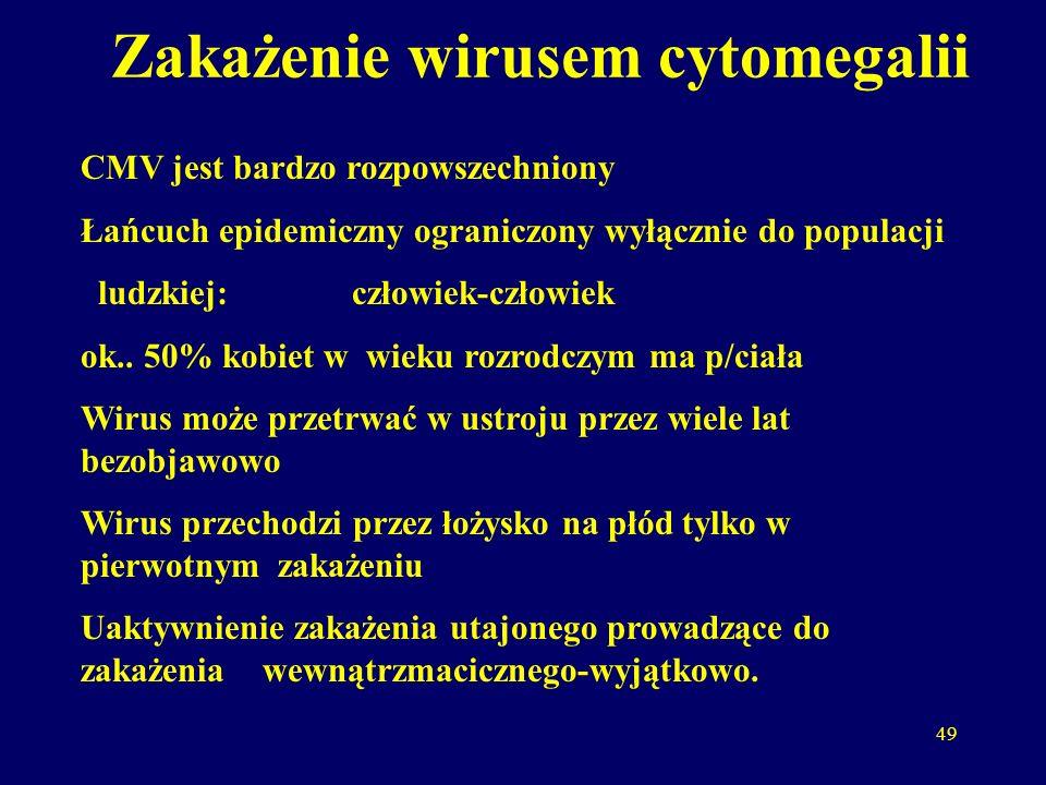 49 Zakażenie wirusem cytomegalii CMV jest bardzo rozpowszechniony Łańcuch epidemiczny ograniczony wyłącznie do populacji ludzkiej: człowiek-człowiek ok..