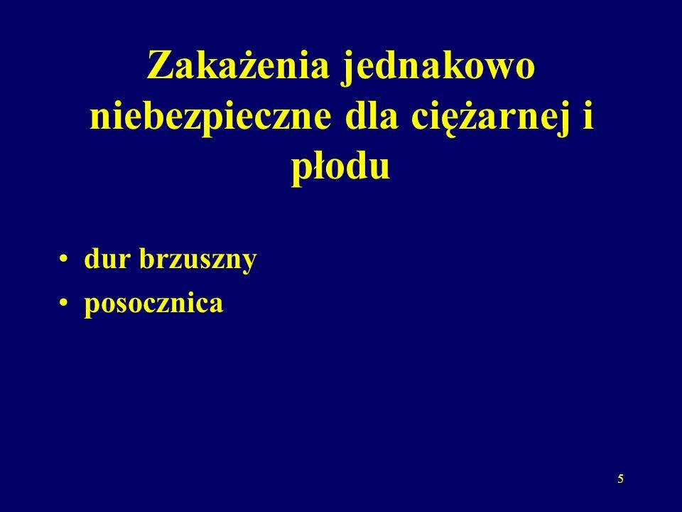 6 Zakażenia niebezpieczne głównie dla płodu różyczka toksoplazmoza ospa wietrzna świnka