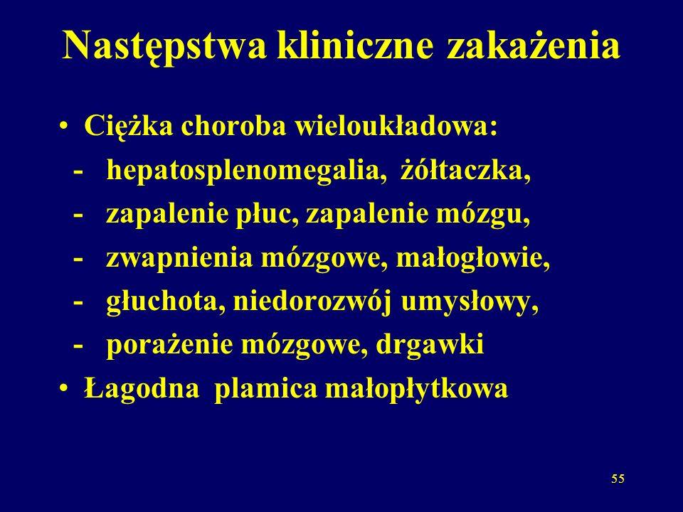 55 Następstwa kliniczne zakażenia Ciężka choroba wieloukładowa: - hepatosplenomegalia, żółtaczka, - zapalenie płuc, zapalenie mózgu, - zwapnienia mózgowe, małogłowie, - głuchota, niedorozwój umysłowy, - porażenie mózgowe, drgawki Łagodna plamica małopłytkowa