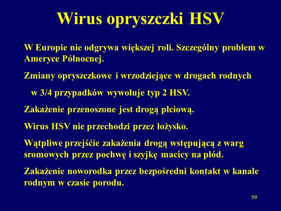 59 Wirus opryszczki HSV W Europie nie odgrywa większej roli.