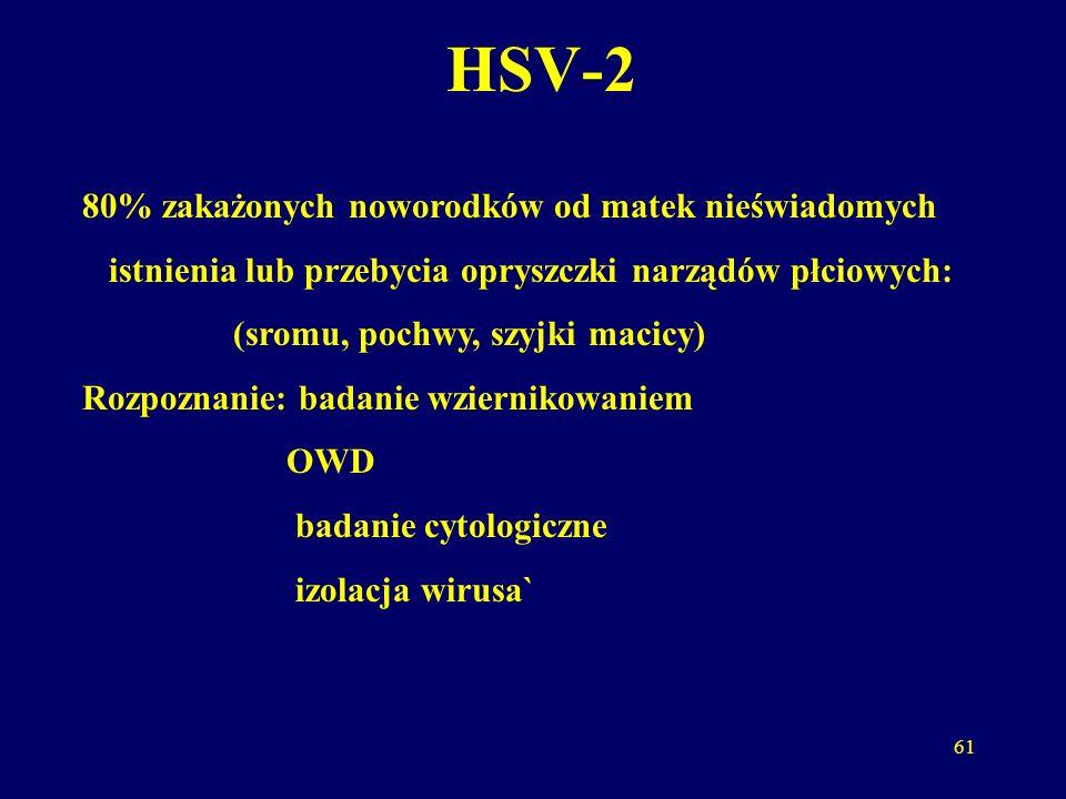 62 HSV zapobieganie 1.cięcie cesarskie 2. poród drogami natury po 1-2 tyg od ustąpienia zmian 3.
