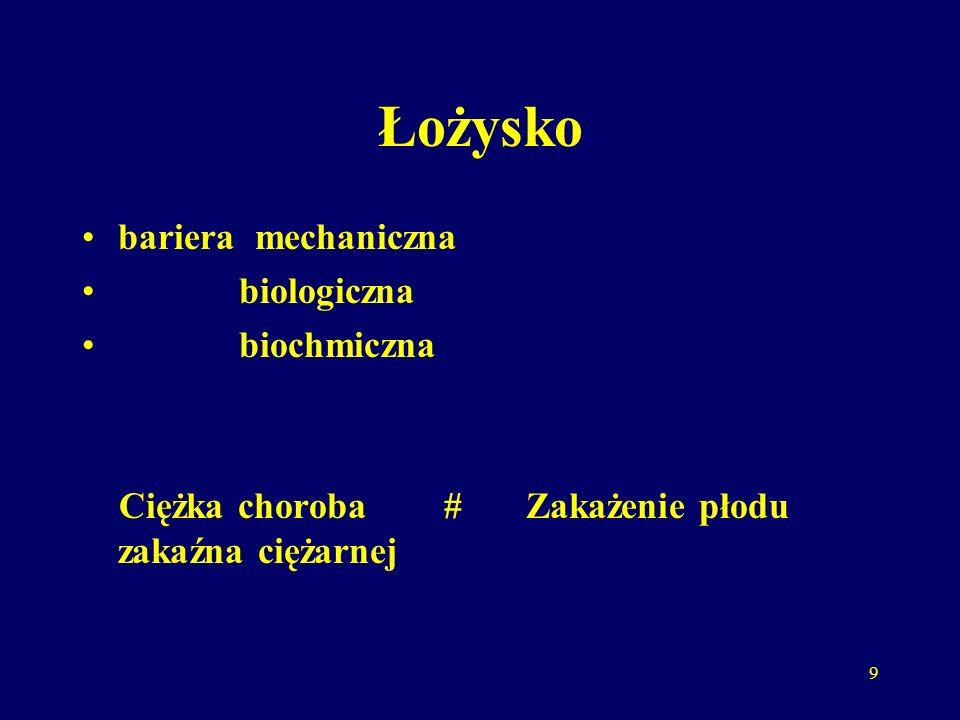 9 Łożysko bariera mechaniczna biologiczna biochmiczna Ciężka choroba # zakaźna ciężarnej Zakażenie płodu