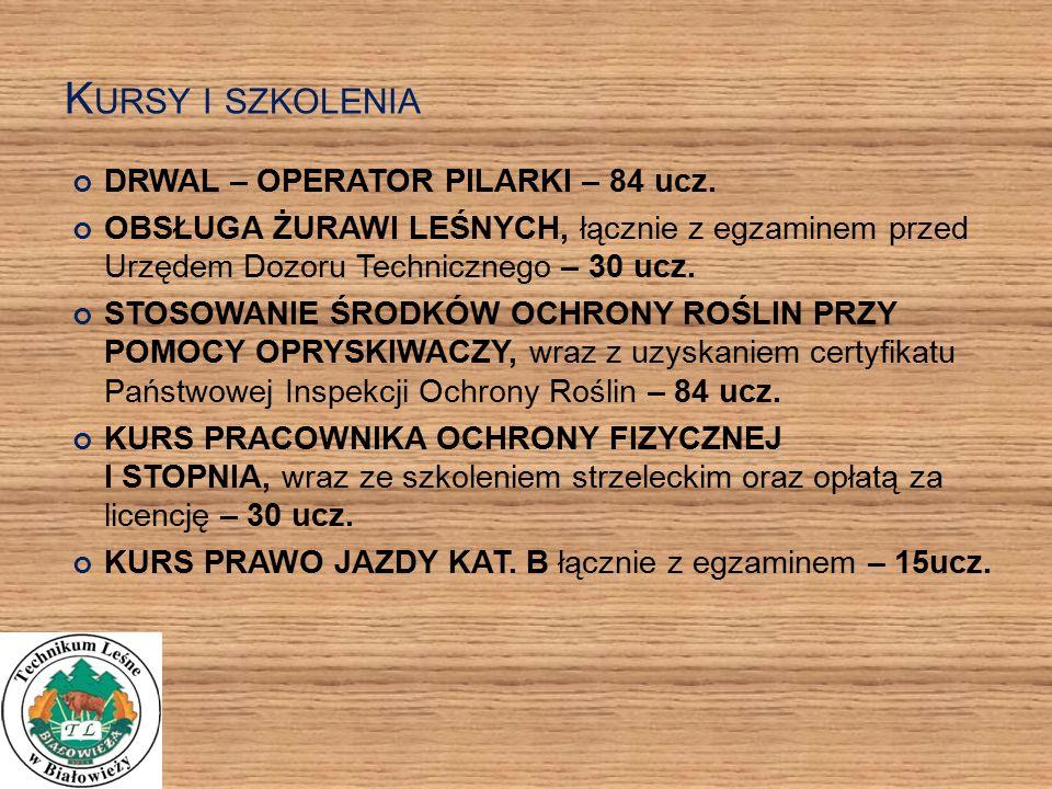 K URSY I SZKOLENIA DRWAL – OPERATOR PILARKI – 84 ucz.