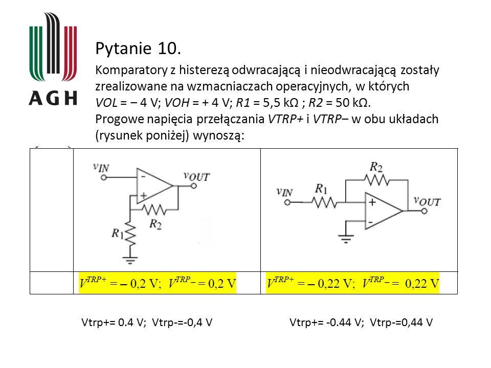 Pytanie 10. Komparatory z histerezą odwracającą i nieodwracającą zostały zrealizowane na wzmacniaczach operacyjnych, w których VOL = ‒ 4 V; VOH = + 4