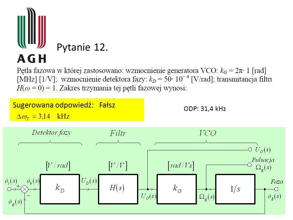 Pytanie 12. Sugerowana odpowiedź: Fałsz ODP: 31,4 kHz