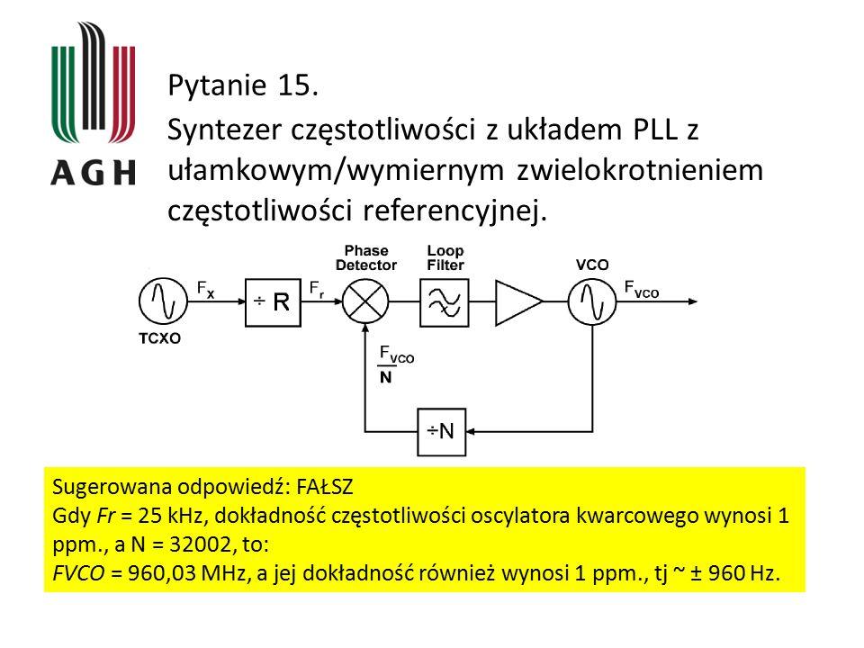 Pytanie 15. Syntezer częstotliwości z układem PLL z ułamkowym/wymiernym zwielokrotnieniem częstotliwości referencyjnej. Sugerowana odpowiedź: FAŁSZ Gd