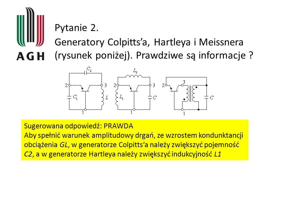 Pytanie 2. Generatory Colpitts'a, Hartleya i Meissnera (rysunek poniżej). Prawdziwe są informacje ? Sugerowana odpowiedź: PRAWDA Aby spełnić warunek a