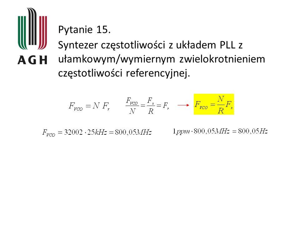 Pytanie 15. Syntezer częstotliwości z układem PLL z ułamkowym/wymiernym zwielokrotnieniem częstotliwości referencyjnej.