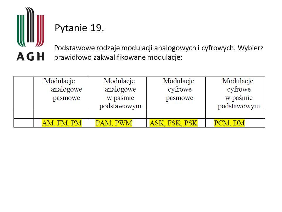 Pytanie 19. Podstawowe rodzaje modulacji analogowych i cyfrowych. Wybierz prawidłowo zakwalifikowane modulacje: