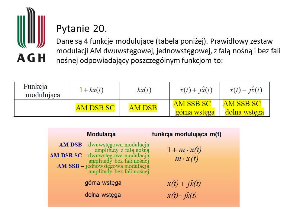 Pytanie 20. Dane są 4 funkcje modulujące (tabela poniżej). Prawidłowy zestaw modulacji AM dwuwstęgowej, jednowstęgowej, z falą nośną i bez fali nośnej
