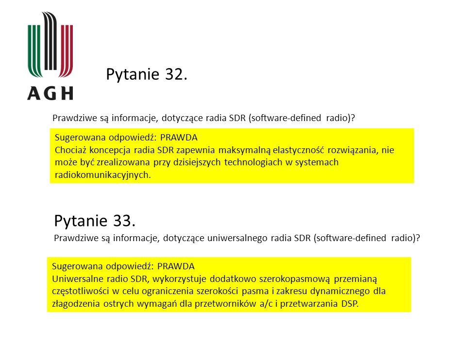 Pytanie 32. Prawdziwe są informacje, dotyczące radia SDR (software-defined radio)? Sugerowana odpowiedź: PRAWDA Chociaż koncepcja radia SDR zapewnia m