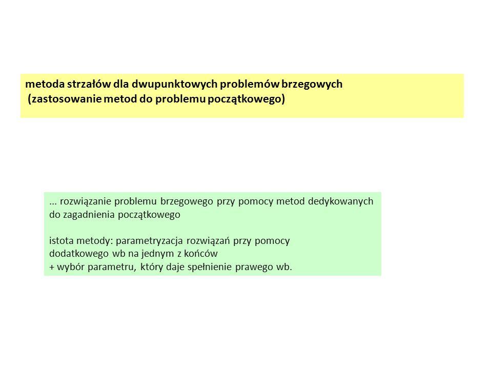metoda strzałów dla dwupunktowych problemów brzegowych (zastosowanie metod do problemu początkowego)... rozwiązanie problemu brzegowego przy pomocy me