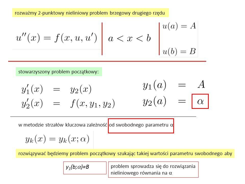 rozważmy 2-punktowy nieliniowy problem brzegowy drugiego rzędu stowarzyszony problem początkowy: w metodzie strzałów kluczowa zależność od swobodnego