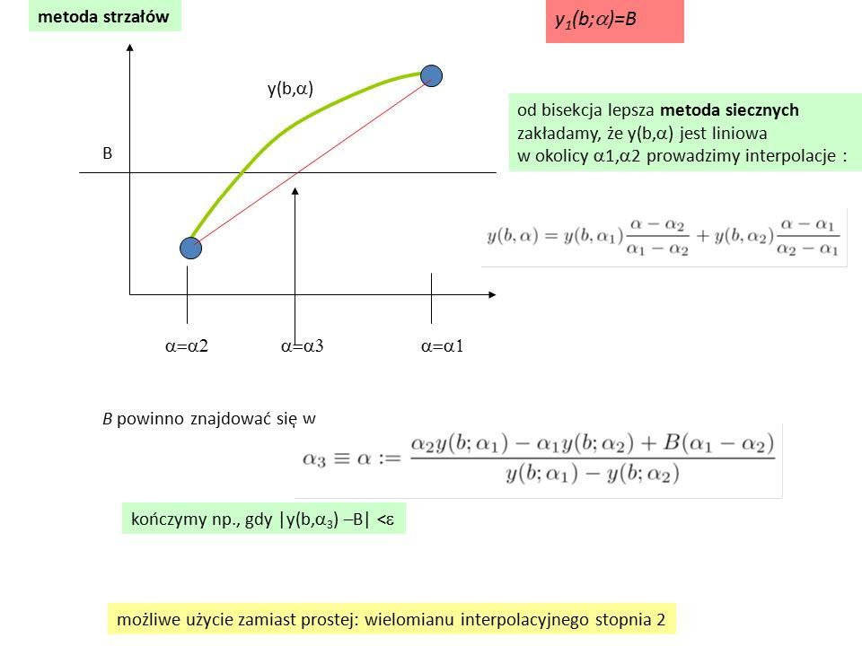 metoda strzałów  y(b,  ) B od bisekcja lepsza metoda siecznych zakładamy, że y(b,  ) jest liniowa w okolicy  1,  2 prowadzimy interpolacje : B powinno znajdować się w możliwe użycie zamiast prostej: wielomianu interpolacyjnego stopnia 2 kończymy np., gdy  y(b,  3 ) –B  <  y 1 (b;  )=B