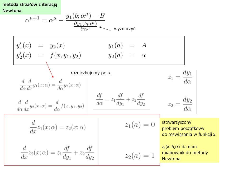 różniczkujemy po  wyznaczyć stowarzyszony problem początkowy do rozwiązania w funkcji x z 1 (x=b,  ) da nam mianownik do metody Newtona metoda strzałów z iteracją Newtona