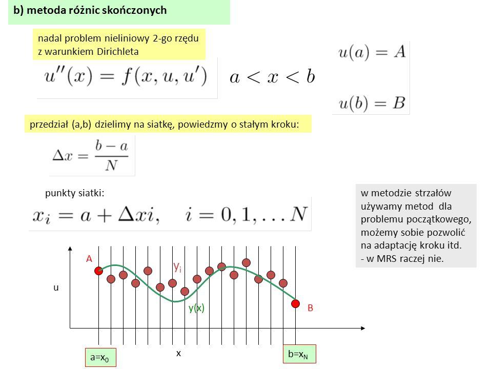 b) metoda różnic skończonych nadal problem nieliniowy 2-go rzędu z warunkiem Dirichleta przedział (a,b) dzielimy na siatkę, powiedzmy o stałym kroku: