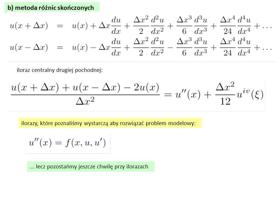b) metoda różnic skończonych iloraz centralny drugiej pochodnej: ilorazy, które poznaliśmy wystarczą aby rozwiązać problem modelowy:... lecz pozostańm